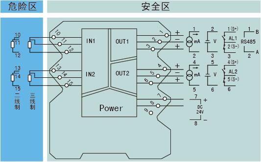 ohr-a32系列二三线制热电阻输入检测端隔离栅接线图